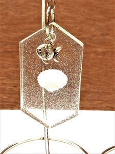 Glitter and Shell Key Chain with Charm