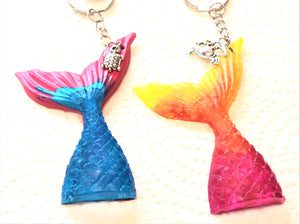 Mermaid Tail Key Chain with Charm