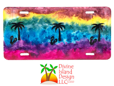 Vanity License Plate - Rainbow w/Palm Trees and Flip Flops