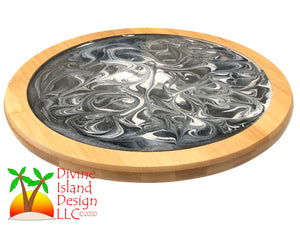 Lazy Susan -Grey, Black and White Resin Center
