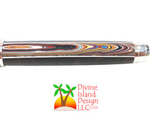 Load image into Gallery viewer, Mistral Rollerball / Rhodium - Segmented Corvette Fordite and Honduran Rosewood Burl