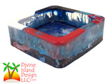 Square Red, White and Blue Alcohol Ink Trinket/Ashtray