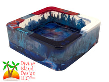 Load image into Gallery viewer, Square Red, White and Blue Alcohol Ink Trinket/Ashtray