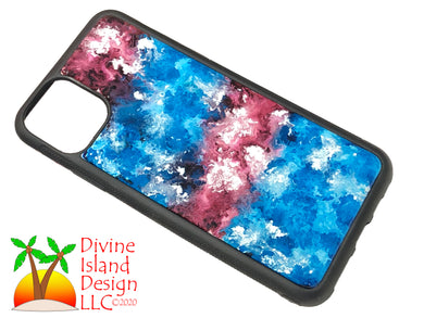 iPhone 11 Pro Max Phone Case - Red, Silver and Blue Resin