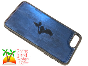 "iPhone 7/8 Plus Phone Case - ""Blue Chrome"" Resin w/Mermaid"