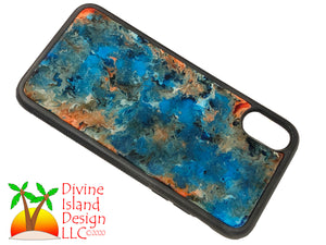 iPhone X/XS Phone Case - Blue, Orange and White Resin