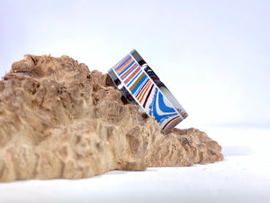 Ring / 8mm 2 piece Stainless Steel - 70s prototype Fordite - Size 9