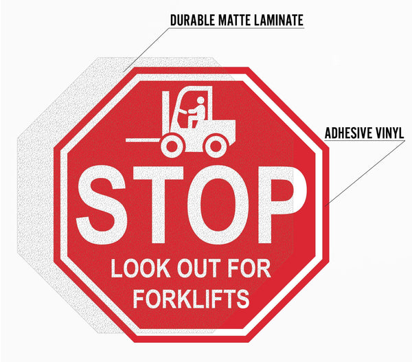 "Stop Sign ""for Fork Trucks"" Durable Matte Laminated Vinyl Floor Sign- Various Sizes Available"