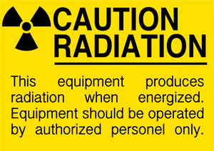 "Caution Radiation ""Equipment Produces Radiation and Should Be Operated by Authorized Personnel Only"" Durable Matte Laminated Vinyl Floor Sign- Various Sizes Available"
