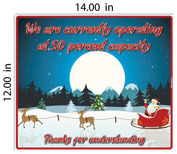 """50% Capacity, Christmas"" Adhesive Durable Vinyl Decal- Various Sizes Available"
