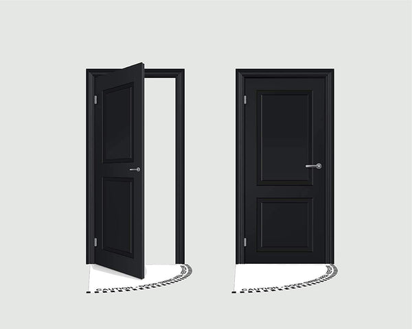 """Visitors Must Remain 6 Feet From This Active Door"" 1/2 Open Door Swing- Various Sizes Available"