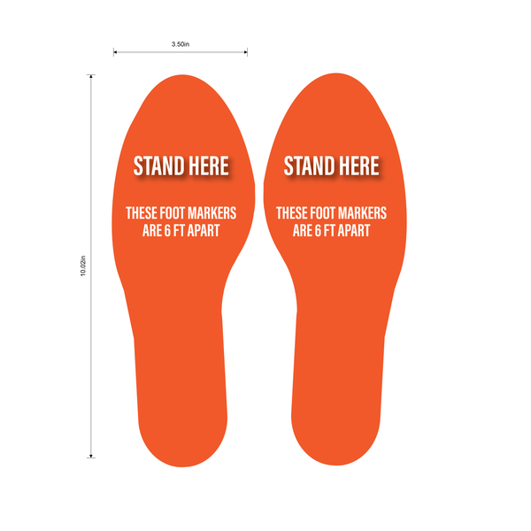 """Stand Here, Foot Markers Are 6 Feet Apart"" Social Distancing Footprints, 5 Pair- Durable Matte Laminated Vinyl Floor Sign- 3.5x10"""