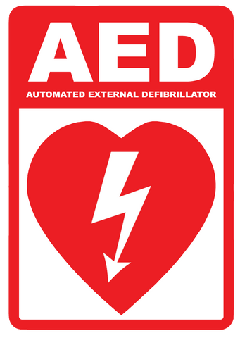 """AED (Automated External Defibrillator)"" Laminated Aluminum 2-Way Sign"