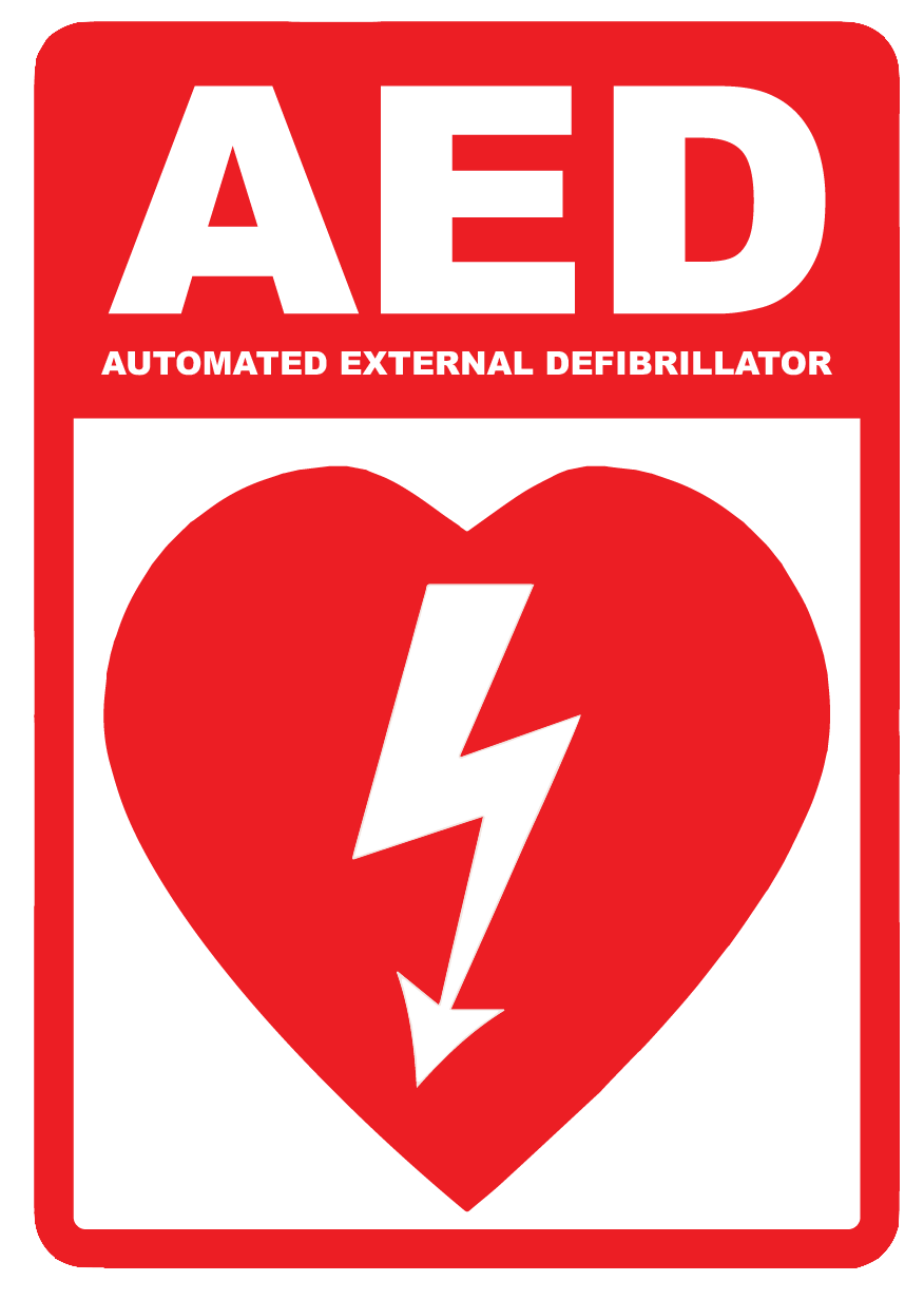 """AED (Automated External Defibrillator)"" Laminated Aluminum Sign"