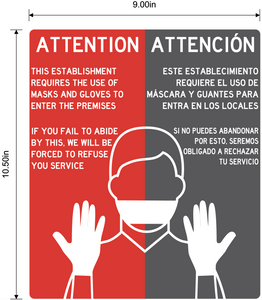 """Attention: This Establishment Requires Use of Masks and Gloves to Enter"" Bilingual, Adhesive Durable Vinyl Decal- 9x10.5"""