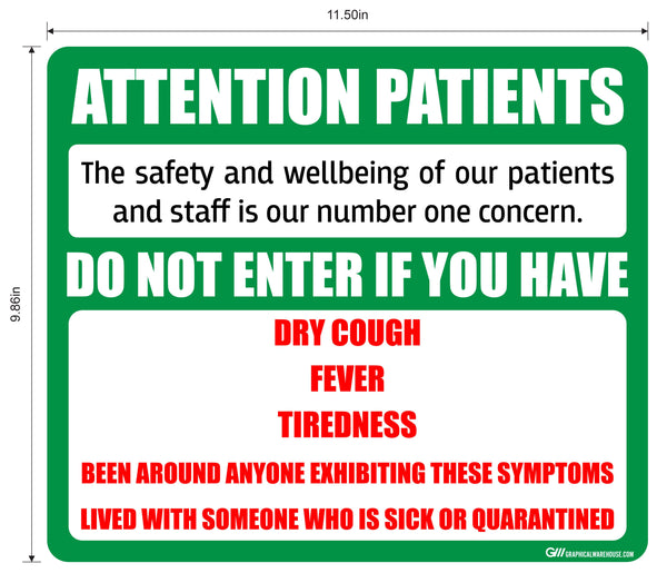 """Attention Patients"" Do Not Enter with COVID-19 (Coronavirus) Symptoms- Adhesive Durable Vinyl Decal- Various Sizes/Colors Available"