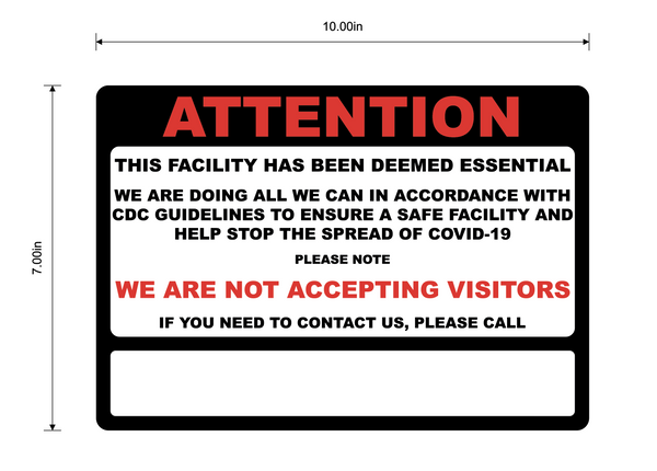 """Attention: Essential Business, No Visitors, Please Call"" Adhesive Durable Vinyl Decal- 10x7"""