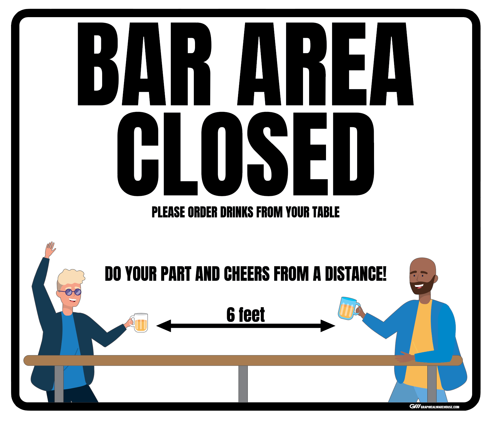 """Bar Area Closed, Version 1"" Adhesive Durable Vinyl Decal- Various Sizes/Colors Available"