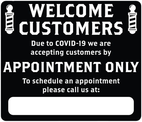 "Barber Shop ""By Appointment Only"" Adhesive Durable Vinyl Decal- Various Colors Available-  14x12"""