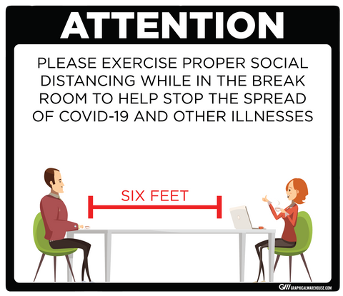"""Break Room Social Distancing"" Adhesive Durable Vinyl Decal- Various Sizes/Colors Available"