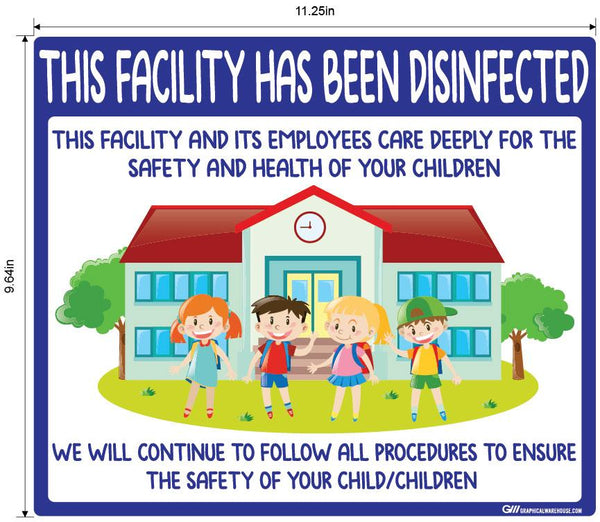 """This Facility Has Been Disinfected"" Childcare, Adhesive Durable Vinyl Decal- Various Sizes Available"