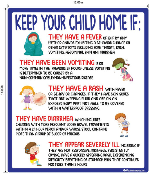 """Keep Your Child Home If"" COVID-19 Symptoms- Adhesive Durable Vinyl Decal- Various Sizes Available"