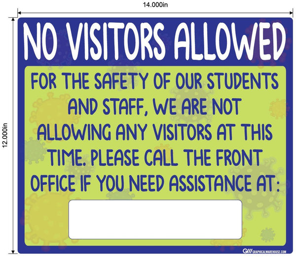 """No Visitors Allowed"" Childcare, Adhesive Durable Vinyl Decal- Various Sizes Available"