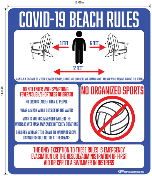 """COVID-19 Beach Rules"" Adhesive Durable Vinyl Decal- Various Sizes Available"