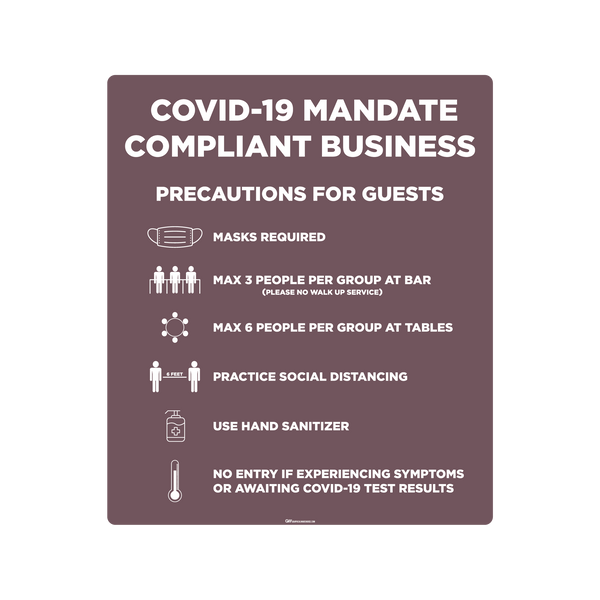 """Covid-19 Mandate Compliant Business"" Adhesive Durable Vinyl Decal- Various Sizes/Colors Available"