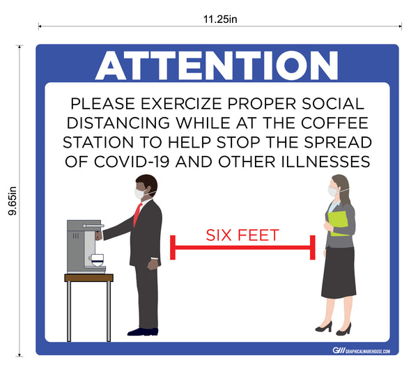 """Coffee Station Social Distancing"" Adhesive Durable Vinyl Decal- Various Sizes/Colors Available"