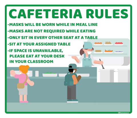 "School ""Cafeteria Rules"" Adhesive Durable Vinyl Decal- Various Sizes/Colors Available"