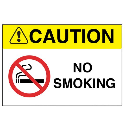 "Caution ""No Smoking"" Durable Matte Laminated Vinyl Floor Sign- Various Sizes Available"