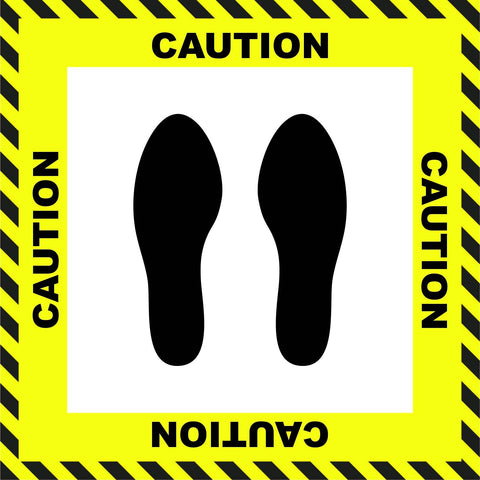 """Caution"" Stand Here Social Distancing Floor Sign, English - 22"""