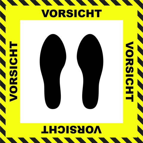 """Caution"" Stand Here Social Distancing Floor Sign, German - 22"""