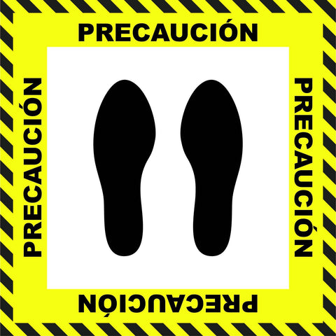 """Caution"" Stand Here Social Distancing Floor Sign, Spanish - 22"""