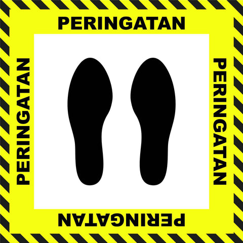 """Caution"" Stand Here Social Distancing Floor Sign, Indonesian - 22"""