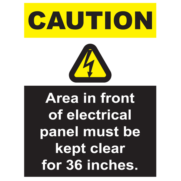 Caution, Area In Front Of Electrical Panel Must Be Kept Clear - Graphical Warehouse