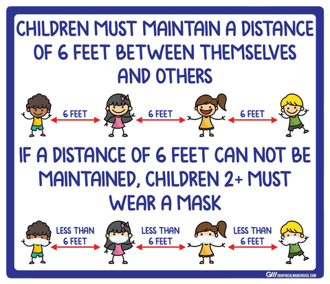 """Children Must Maintain Social Distancing or Wear a Mask"" Adhesive Durable Vinyl Decal- Various Sizes Available"
