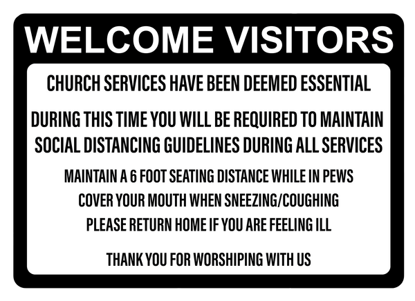 """Church Services Deemed Essential"" Adhesive Durable Vinyl Decal- 10x7"""