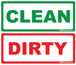 """Clean, Dirty"" Pack of 20 (10 Clean, 10 Dirty), Adhesive Durable Vinyl Decal- Various Sizes Available"