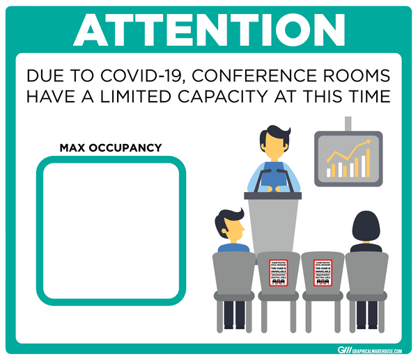 """Conference Room Limited Capacity"" Adhesive Durable Vinyl Decal- Various Sizes/Colors Available"