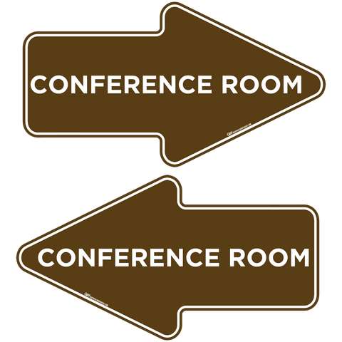 """Conference Room"" Wayfinding Arrows, 10 Pack- Durable Matte Laminated Vinyl Floor Sign- 15.95x8.7"""