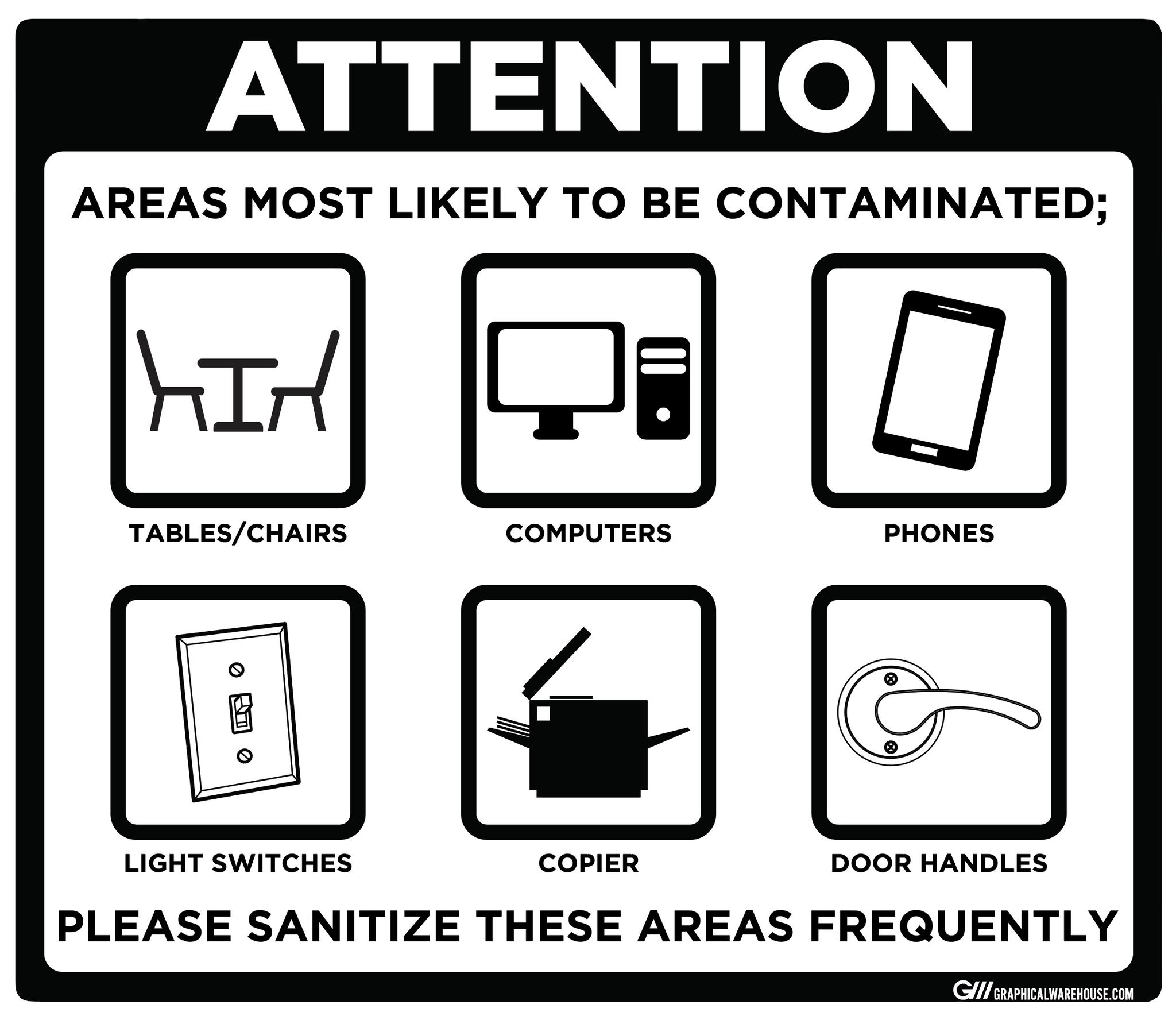 """Contaminated Areas, Please Sanitize"" Adhesive Durable Vinyl Decal- Various Sizes/Colors Available"