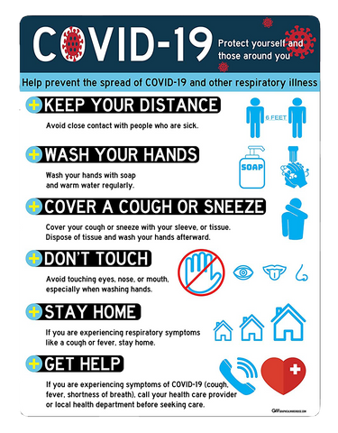 """COVID-19: Protect Yourself and Those Around You"" Adhesive Durable Vinyl Decal- Various Sizes Available"