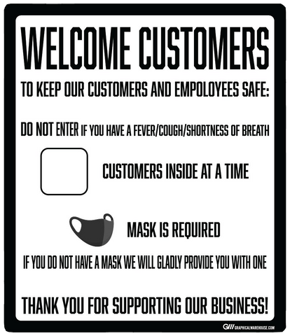 """Customer Capacity, Mask Required"" Adhesive Durable Vinyl Decal- Various Sizes Available"