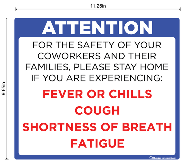 """Do Not Enter Office With Symptoms"" Adhesive Durable Vinyl Decal- Various Sizes/Colors Available"
