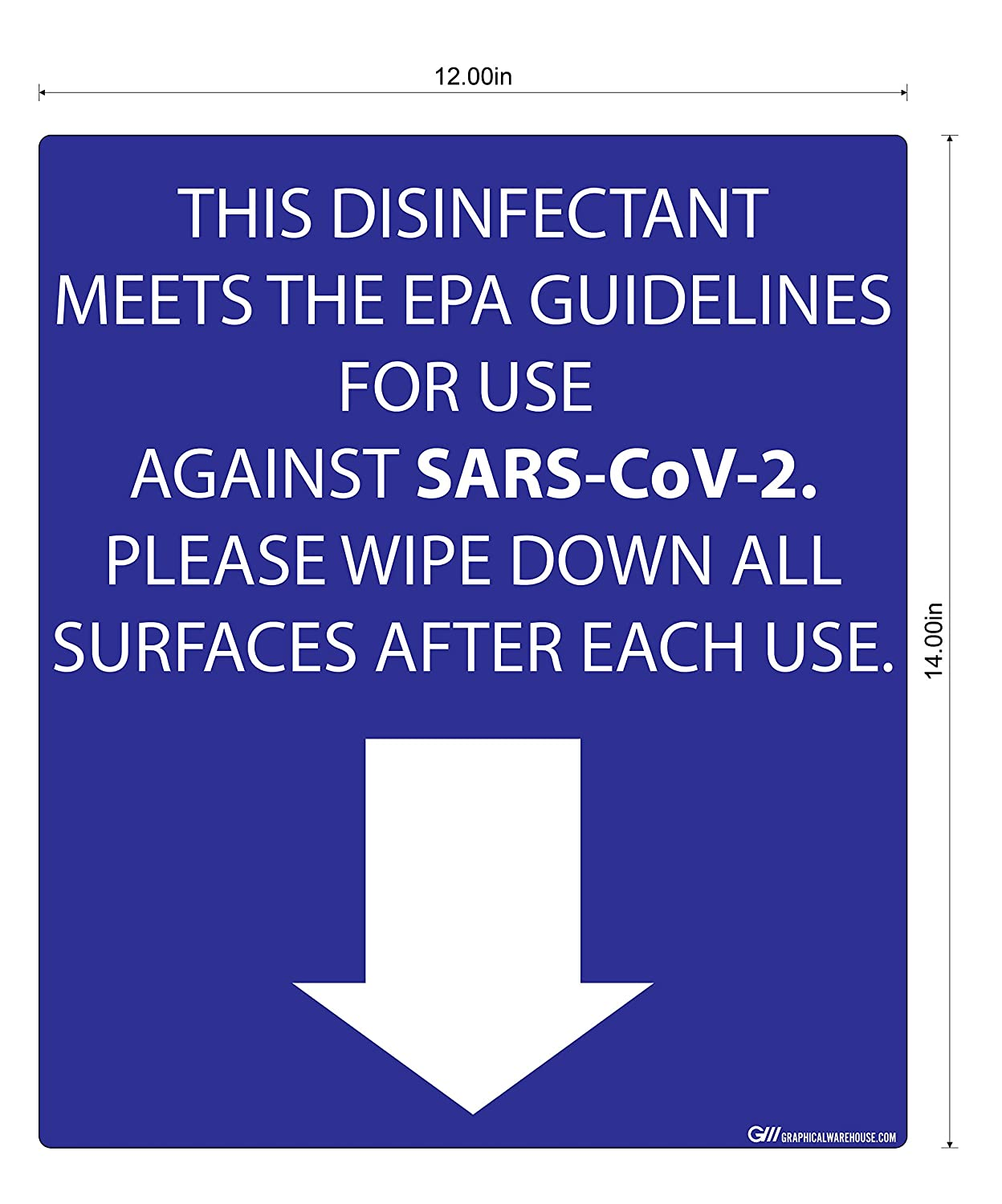 """Disinfectant Against SARS-CoV-2, Please Wipe Surfaces"" Adhesive Durable Vinyl Decal- 14x12"""