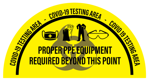 """COVID-19 Testing Area, PPE Required Beyond This Point"" Full Open Door Swing- Durable Matte Laminated Vinyl Floor Sign- 34x68"""