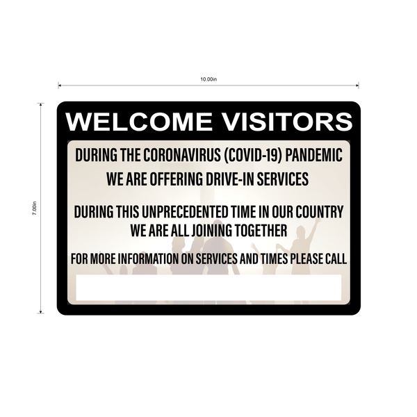"""Church Drive-In Services Available"" Adhesive Durable Vinyl Decal- 10x7"""