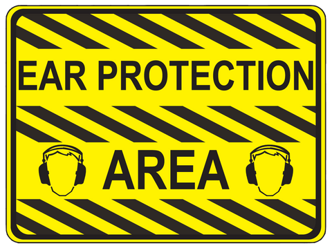 """Ear Protection Area"" Durable Matte Laminated Vinyl Floor Sign- Various Sizes Available"